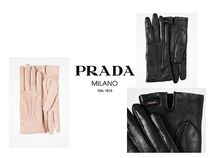PRADA Casual Style Plain Leather Leather & Faux Leather Gloves