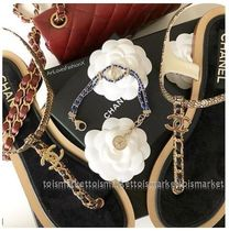 CHANEL Open Toe Casual Style Plain Leather Sandals Sandals