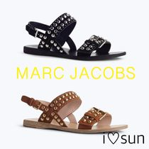 MARC JACOBS Open Toe Casual Style Studded Plain Leather Sandals Sandal