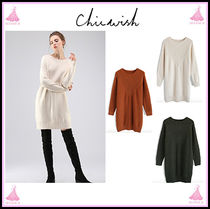 Chicwish Crew Neck Cable Knit Casual Style Long Sleeves Plain Medium