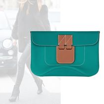 HERMES Casual Style Calfskin Plain Clutches
