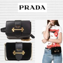 PRADA CAHIER Casual Style Chain Plain Leather Home Party Ideas Clutches