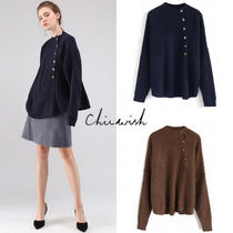 Chicwish Casual Style Rib Long Sleeves Plain Sweaters