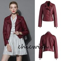 Chicwish Short Faux Fur Plain Biker Jackets