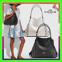 Coach EDIE Plain Leather Elegant Style Handbags