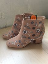 Primark Flower Patterns Round Toe Casual Style Faux Fur Chunky Heels