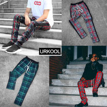 URKOOL Printed Pants Other Check Patterns Street Style Cotton
