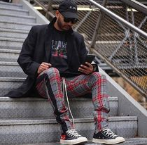 URKOOL Printed Pants Other Plaid Patterns Street Style Cotton