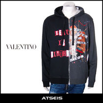 VALENTINO Street Style Long Sleeves Cotton Hoodies