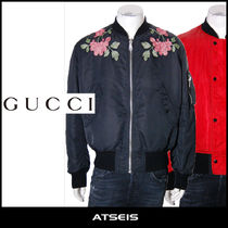 GUCCI Short Flower Patterns Street Style MA-1 Bomber Jackets