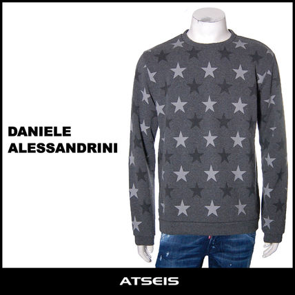 Crew Neck Pullovers Star Street Style Long Sleeves Cotton