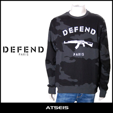 Crew Neck Pullovers Camouflage Street Style Long Sleeves