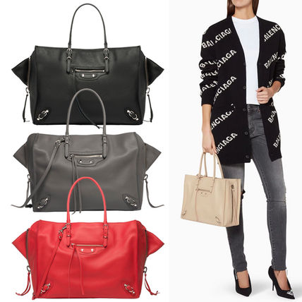 632109db1c Calfskin Papier B4 Zip Around Tote(Black/Turquoise/Red/Grey). BALENCIAGA