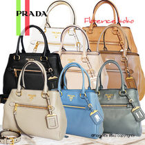 PRADA Vitello Phenix Tote Bag (Cobalto Blue/Black/Cammeo Tan)