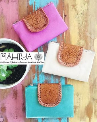 Street Style Bi-color Plain Leather Handmade Folding Wallets