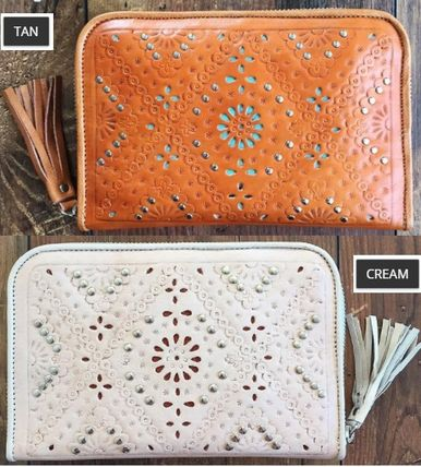 Tassel Studded Leather Handmade Long Wallets