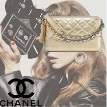 CHANEL Plain Leather Party Style Clutches