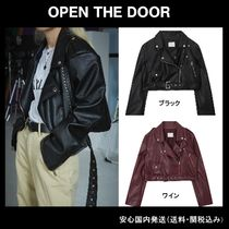 OPEN THE DOOR Short Unisex Plain Leather Biker Jackets