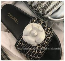 CHANEL Stripes Open Toe Casual Style Sandals Sandals