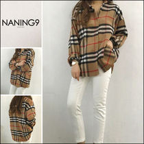 NANING9 Other Check Patterns Casual Style Long Sleeves Cotton Medium