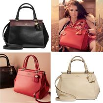 Coach Collaboration 2WAY Plain Leather Elegant Style Handbags