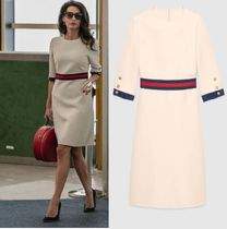GUCCI Wool Cropped Plain Medium Elegant Style Dresses