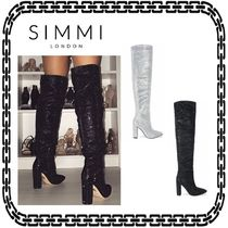 SIMMI Casual Style Block Heels Over-the-Knee Boots