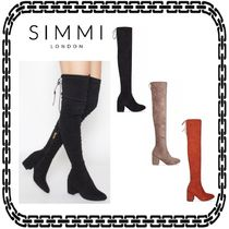 SIMMI Casual Style Suede Plain Block Heels Over-the-Knee Boots