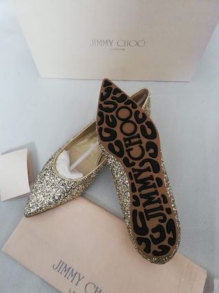 Jimmy Choo Rubber Sole Glitter Pointed Toe Shoes