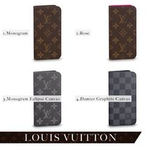 Louis Vuitton Monogram Unisex Leather iPhone X Logo Smart Phone Cases