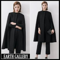 Casual Style Wool Street Style Plain Medium Ponchos & Capes