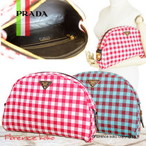 PRADA Gingham Check Jacouard Vichy Pochette (Red&Blue/Red&White)