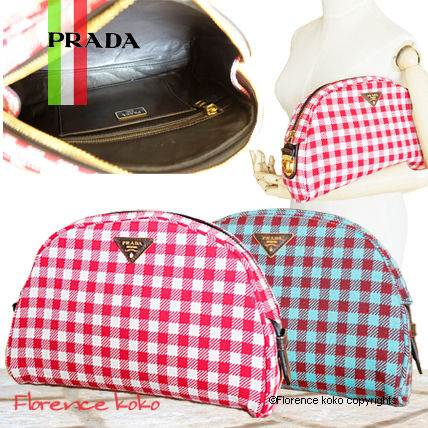 PRADA Shoulder Bags Gingham Check Jacouard Vichy Pochette (Red&Blue/Red&White)