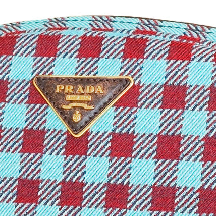 PRADA Shoulder Bags Gingham Check Jacouard Vichy Pochette (Red&Blue/Red&White) 3