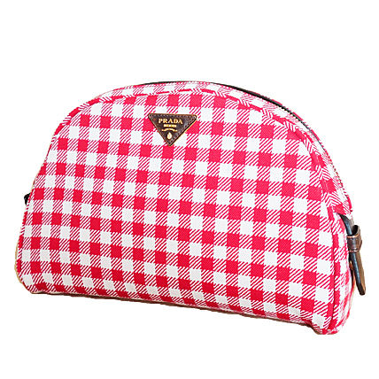 PRADA Shoulder Bags Gingham Check Jacouard Vichy Pochette (Red&Blue/Red&White) 7