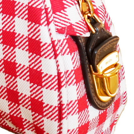PRADA Shoulder Bags Gingham Check Jacouard Vichy Pochette (Red&Blue/Red&White) 11