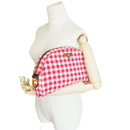 PRADA Shoulder Bags Gingham Check Jacouard Vichy Pochette (Red&Blue/Red&White) 13