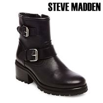 Steve Madden Rubber Sole Casual Style Plain Leather Flat Boots