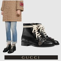 GUCCI Round Toe Casual Style Plain Other Animal Patterns Leather