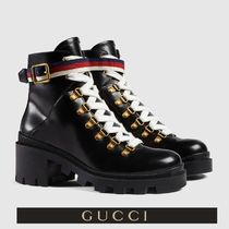 GUCCI Sylvie Stripes Round Toe Casual Style Blended Fabrics Plain Leather