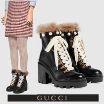GUCCI Round Toe Casual Style Blended Fabrics Studded Plain Leather