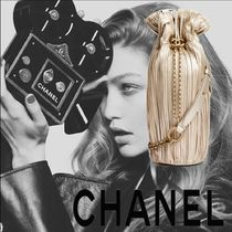 CHANEL Calfskin Plain Purses Elegant Style Backpacks