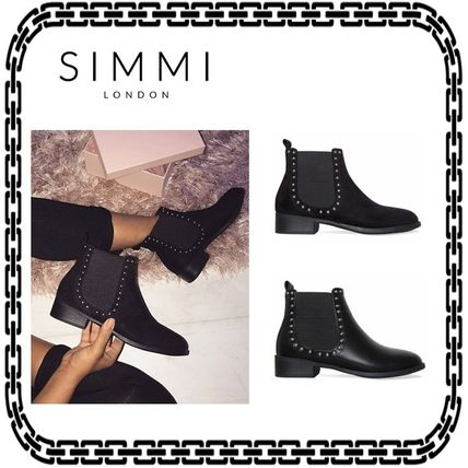 Casual Style Studded Plain Block Heels Ankle & Booties Boots
