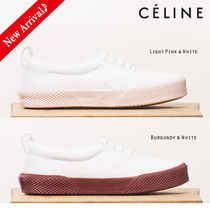 CELINE Round Toe Rubber Sole Lace-up Casual Style Blended Fabrics