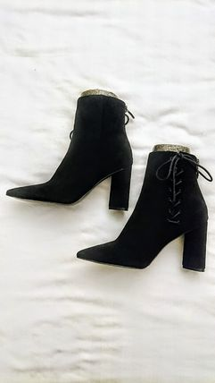 Lace-up Suede Plain Block Heels Lace-up Boots