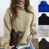 NANING9 Long Sleeves Plain High-Neck Sweaters
