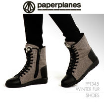 Round Toe Rubber Sole Lace-up Casual Style Faux Fur