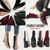 PUBLIC DESIRE Casual Style Suede Bi-color Chunky Heels