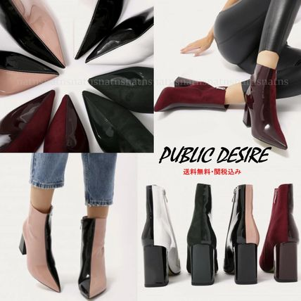 Casual Style Suede Bi-color Chunky Heels
