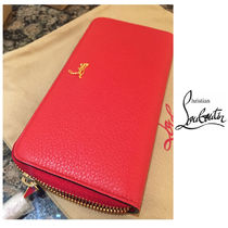 Christian Louboutin Panettone  Unisex Plain Leather Long Wallets